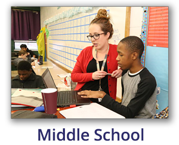 Text:  Middle School with image of teacher and student working on a laptop
